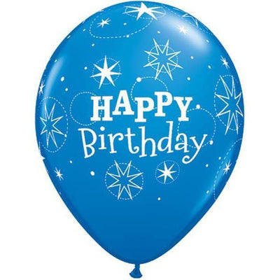PRINTED LATEX BALLOON 28CM - BIRTHDAY SPARKLE DARK BLUE