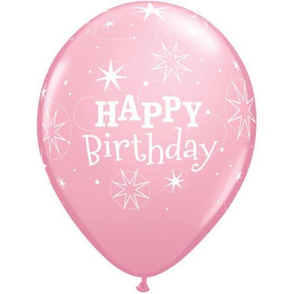 PRINTED LATEX BALLOON 28CM - BIRTHDAY SPARKLE PINK