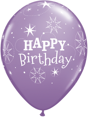 PRINTED LATEX BALLOON 28CM - BIRTHDAY SPARKLE SPRING VIOLET