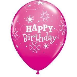 PRINTED LATEX BALLOON 28CM - BIRTHDAY SPARKLE WILDBERRY
