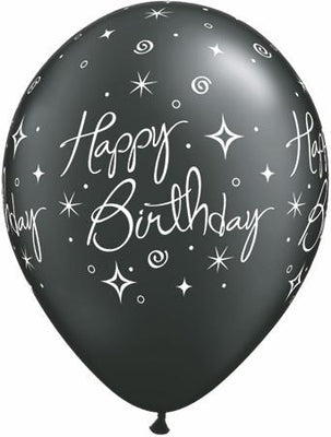 PRINTED LATEX BALLOON 28CM - BORTHDAY ELEGANT SPARKLES & SWIRLS BLACK METALLIC