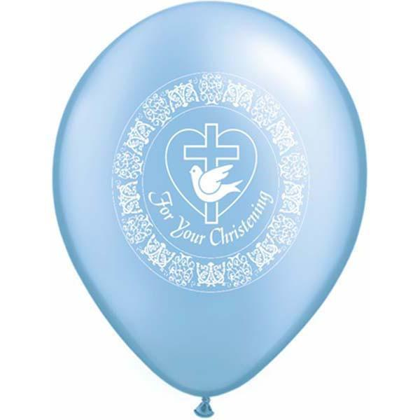 PRINTED LATEX BALLOON 28CM - CHRISTENING DOVE PEARL AZURE PK 50