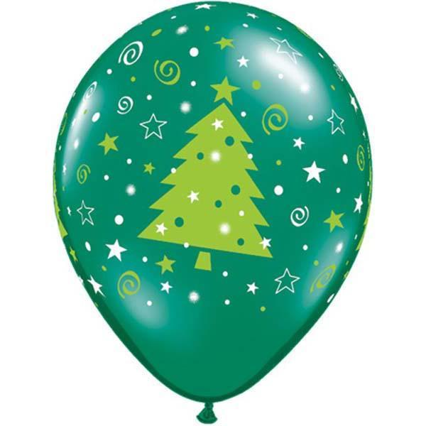 PRINTED LATEX BALLOON 28CM - CHRISTMAS TREES STARS & SWIRLS GREEN