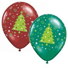 PRINTED LATEX BALLOON 28CM - CHRISTMAS TREES STARS & SWIRLS (RED & GREEN) PK 50