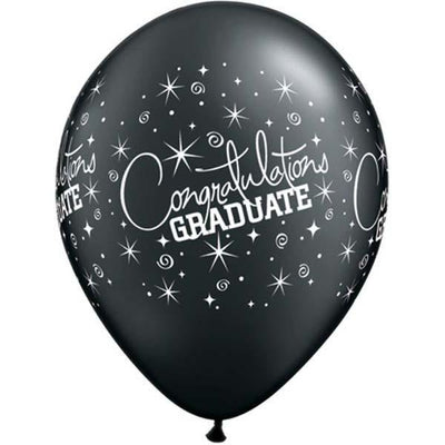 PRINTED LATEX BALLOON 28CM - CONGRATULATIONS GRADUATE MT SILVER AND BLACK PK 25