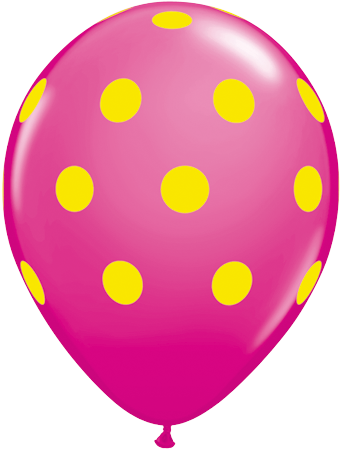 PRINTED LATEX BALLOON 28CM - DARK PINK YELLOW POLKA DOTS