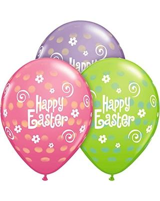 PRINTED LATEX BALLOON 28CM - EASTER POLKA DOT AST PK 50