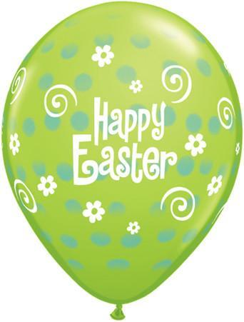 PRINTED LATEX BALLOON 28CM - EASTER POLKA DOT LIME GREEN