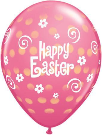 PRINTED LATEX BALLOON 28CM - EASTER POLKA DOT PINK