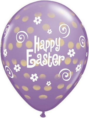 PRINTED LATEX BALLOON 28CM - EASTER POLKA DOT PURPLE
