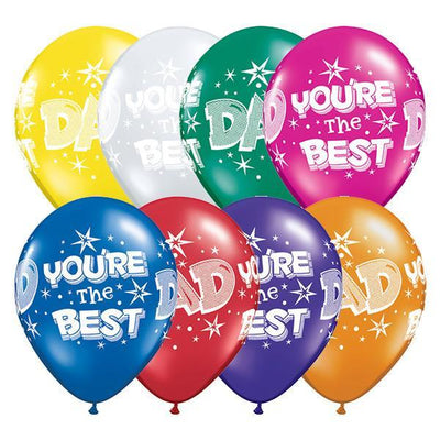 PRINTED LATEX BALLOON 28CM - FATHERS DAY AST PK 25