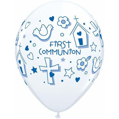 PRINTED LATEX BALLOON 28CM - FIRST COMMUNION BOY PK 50