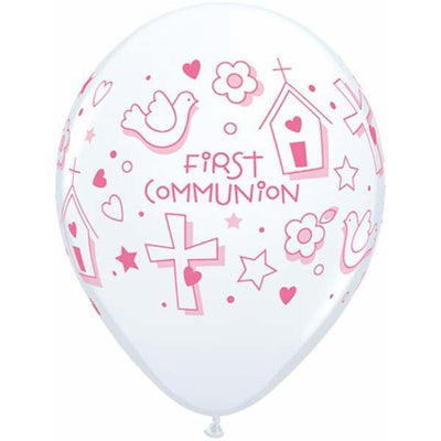 PRINTED LATEX BALLOON 28CM - FIRST COMMUNION GIRL PK 50