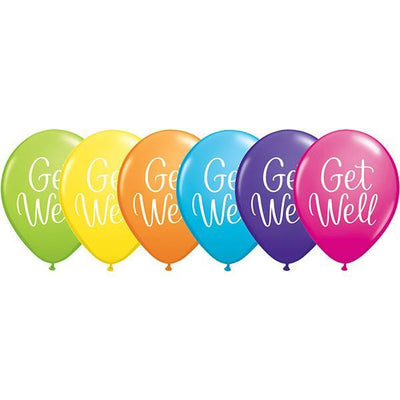 PRINTED LATEX BALLOON 28CM - GET WELL AST PK 25