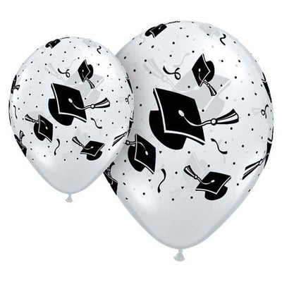 PRINTED LATEX BALLOON 28CM - GRADUATION HATS PK 25