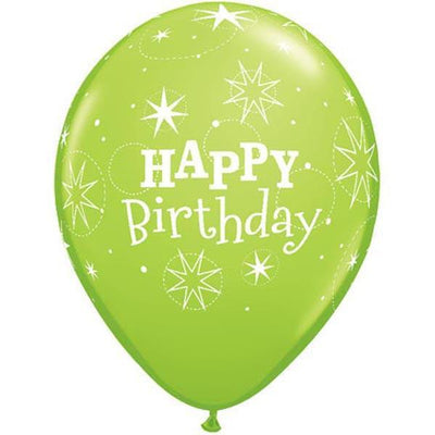 PRINTED LATEX BALLOON 28CM - HAPPY BIRTHDAY SPARKLE LIME GREEN PK 50