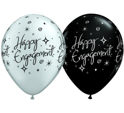 PRINTED LATEX BALLOON 28CM - HAPPY ENGAGEMENT ELEGANT SPARKLES BLACK & SILVER AST PK 25