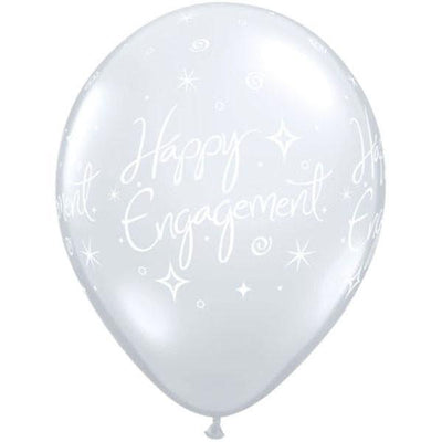 PRINTED LATEX BALLOON 28CM - HAPPY ENGAGEMENT ELEGANT SPARKLES DIAMOND CLEAR PK 25