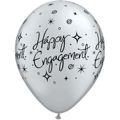 PRINTED LATEX BALLOON 28CM - HAPPY ENGAGEMENT ELEGANT SPARKLES SILVER