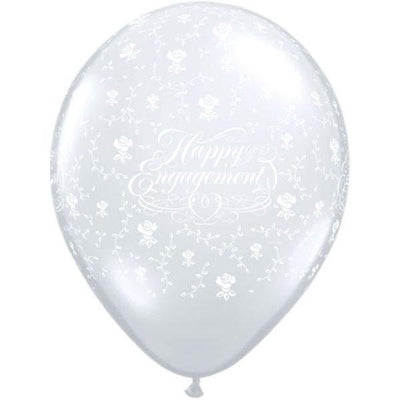 PRINTED LATEX BALLOON 28CM - HAPPY ENGAGEMENT FLOWERS-A-ROUND DIAMOND CLEAR PK 25