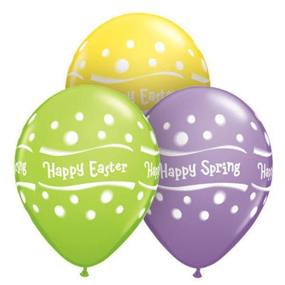 PRINTED LATEX BALLOON 28CM - HAPPY SPRING EASTER DOTS AST PK 50