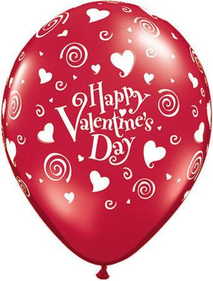 PRINTED LATEX BALLOON 28CM - HAPPY VALENTINES DAY RED PK 25