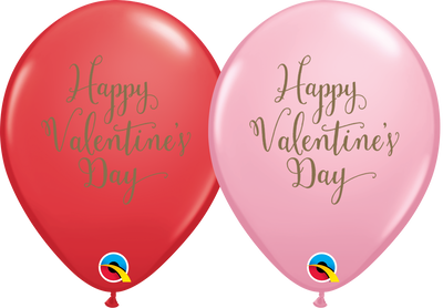 PRINTED LATEX BALLOON 28CM - HAPPY VALENTINE'S DAY SCRIPT RED & PINK AST PK 25