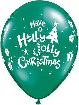 PRINTED LATEX BALLOON 28CM - HOLLY JOLLY CHRISTMAS GREEN