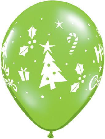 PRINTED LATEX BALLOON 28CM - HOLLY JOLLY CHRISTMAS LIME GREEN