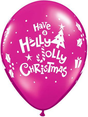 PRINTED LATEX BALLOON 28CM - HOLLY JOLLY CHRISTMAS PINK