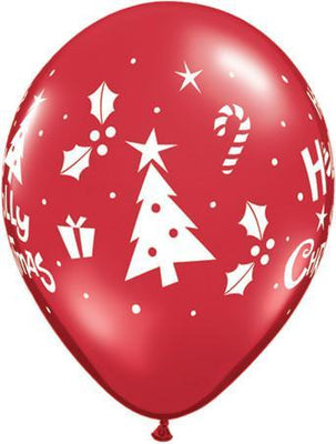 PRINTED LATEX BALLOON 28CM - HOLLY JOLLY CHRISTMAS RED
