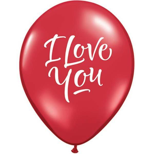 PRINTED LATEX BALLOON 28CM - I LOVE YOU SCRIPT RED PK 25