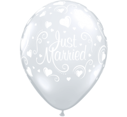 PRINTED LATEX BALLOON 28CM - JUST MARRIED HEARTS DIAMOND CLEAR PK 50