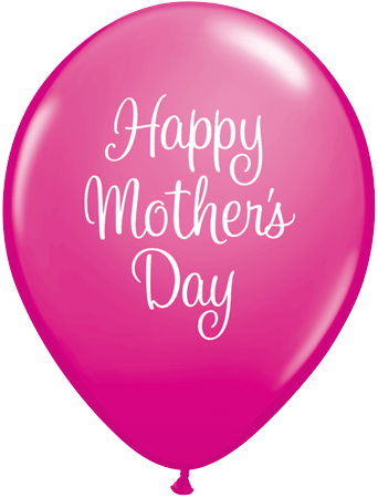 PRINTED LATEX BALLOON 28CM - MOTHERS DAY CLASSY SCRIPT DARK PINK