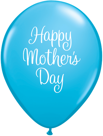 PRINTED LATEX BALLOON 28CM - MOTHERS DAY CLASSY SCRIPT LIGHT BLUE
