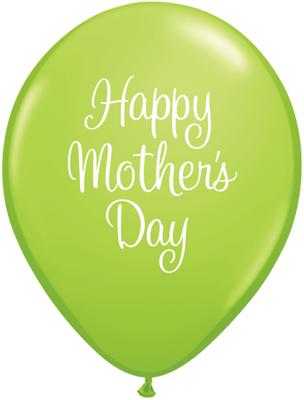PRINTED LATEX BALLOON 28CM - MOTHERS DAY CLASSY SCRIPT LIME GREEN