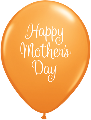 PRINTED LATEX BALLOON 28CM - MOTHERS DAY CLASSY SCRIPT ORANGE