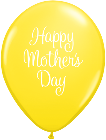 PRINTED LATEX BALLOON 28CM - MOTHERS DAY CLASSY SCRIPT YELLOW