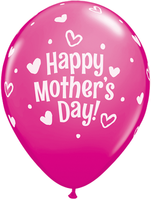 PRINTED LATEX BALLOON 28CM - MOTHERS DAY HEARTS & DOTS DARK PINK