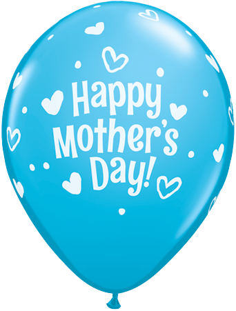 PRINTED LATEX BALLOON 28CM - MOTHERS DAY HEARTS & DOTS LIGHT BLUE