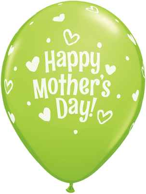 PRINTED LATEX BALLOON 28CM - MOTHERS DAY HEARTS & DOTS LIME GREEN