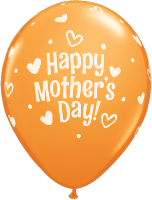 PRINTED LATEX BALLOON 28CM - MOTHERS DAY HEARTS & DOTS ORANGE