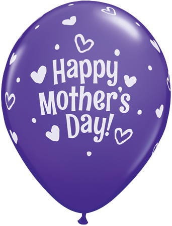 PRINTED LATEX BALLOON 28CM - MOTHERS DAY HEARTS & DOTS PURPLE