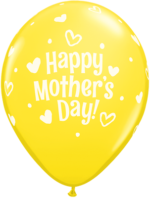 PRINTED LATEX BALLOON 28CM - MOTHERS DAY HEARTS & DOTS YELLOW