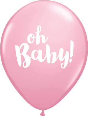 PRINTED LATEX BALLOON 28CM - OH BABY PINK