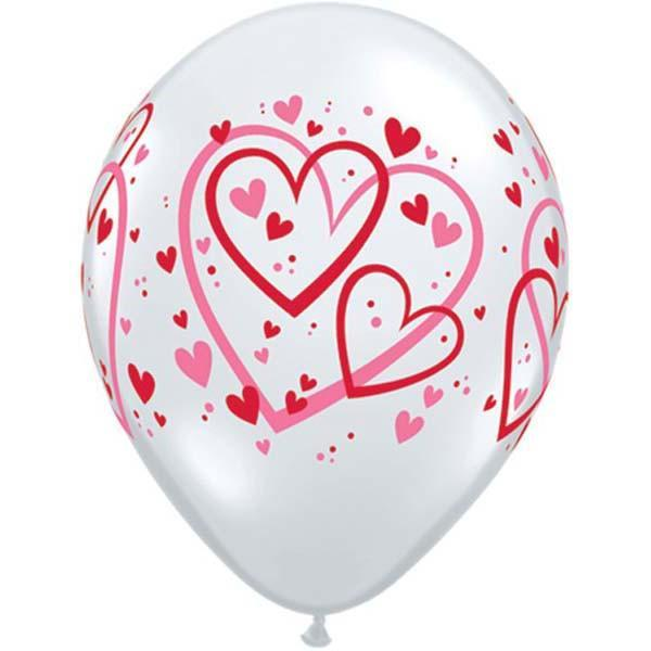 PRINTED LATEX BALLOON 28CM - RED & PINK PATTERN HEARTS PK 25