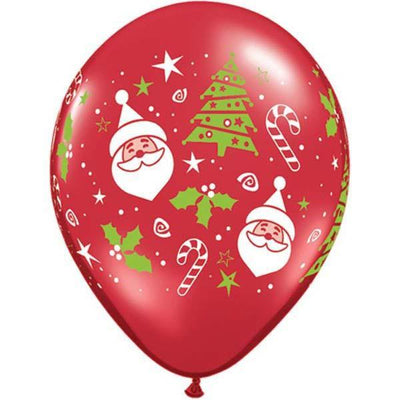 PRINTED LATEX BALLOON 28CM - SANTA & CHRISTMAS TREE
