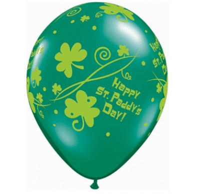 PRINTED LATEX BALLOON 28CM - ST PATRICKS DAY PADDYS SHAMROCK SWIRLS PK 25