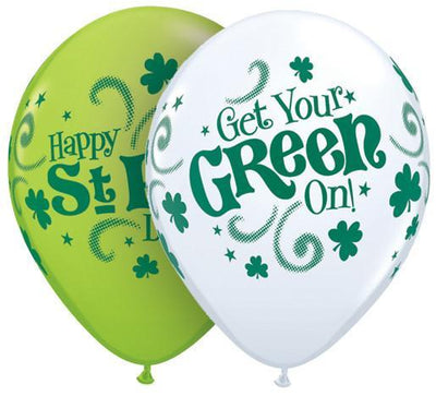 PRINTED LATEX BALLOON 28CM - ST PATRICKS GET YOUR GREEN ON PK 25