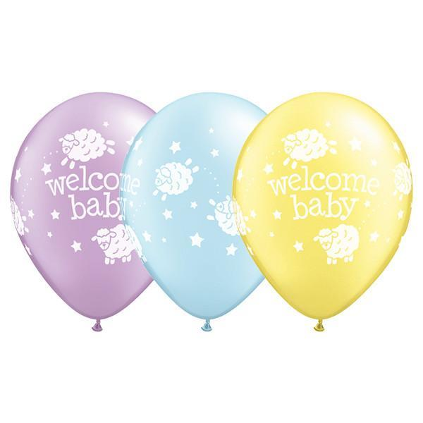 PRINTED LATEX BALLOON 28CM - WELCOME BABY LAMBS PSTL PRT AST PK 50